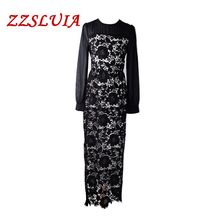 S-3XL Retro water soluble embroidery patchwork designer O neck lantern sleeve long dresses vestido 2017 new women's dress 1001(China)