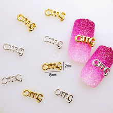 "10Pcs/Lot 2*8mm Gold and Silver Letter""omg"" 3D DIY Metal Alloy Nail Art Decorations Nail Stickers Jewelry Accessories/Charms"