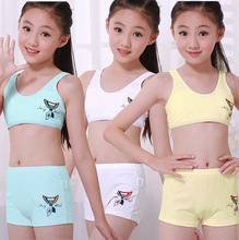 Children Underwear Set Kids Puberty Young girl student Bras 100% cotton underwear set with bra and boxers 7 to 15 years(China)