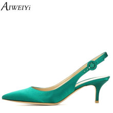 Buy AIWEIYi Women High Heels Slingbacks Platform Pumps 6.5cm Silk Skin High Heels Pointed Toe Stilettos Heels Lady Wedding Shoes for $39.90 in AliExpress store