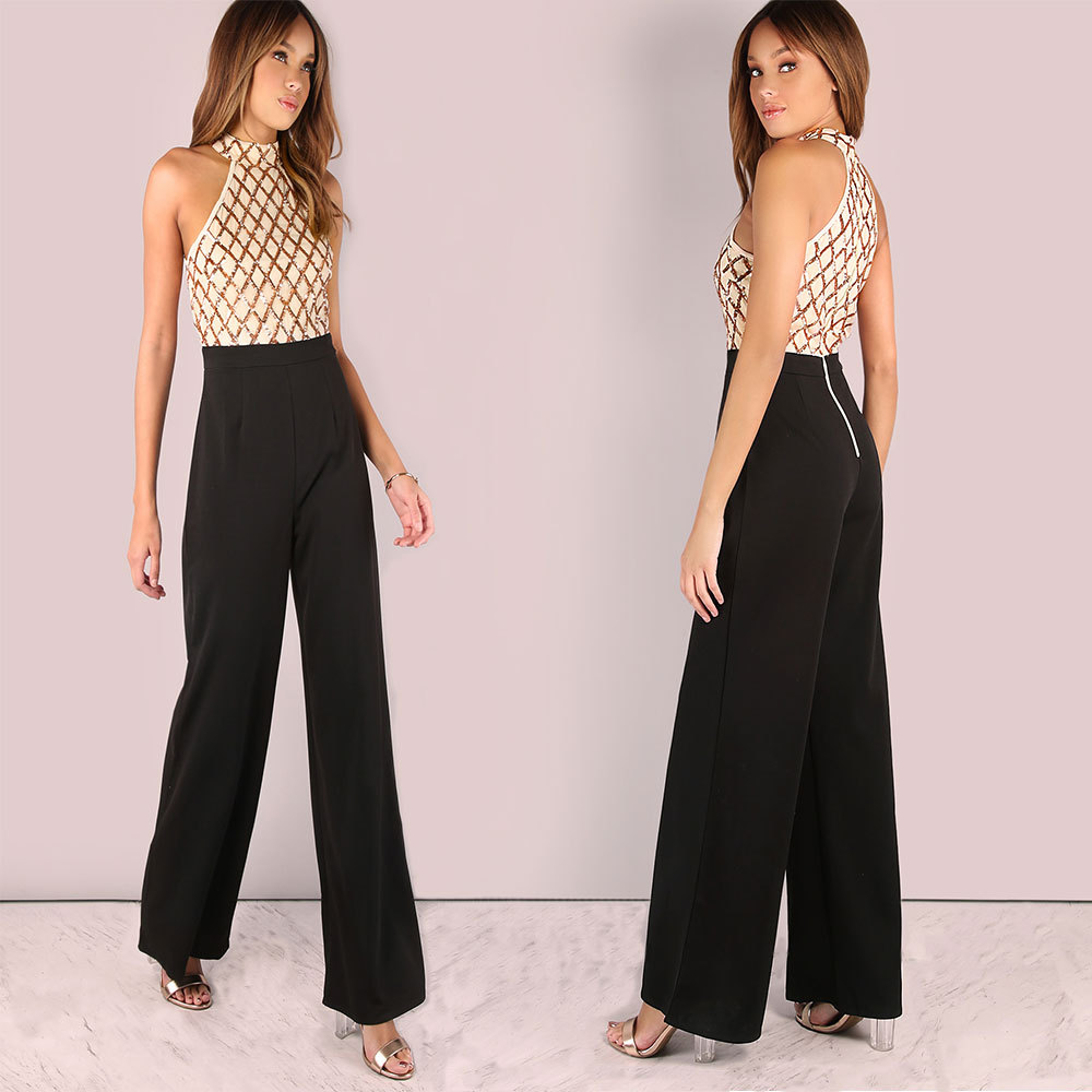 Women Sexy Halter Cold Shoulder Plaid Sequin Top Patchwork Jumpsuit Elegant Casual Party Long Pants Boot Cut Jumpsuit Back Zip 2