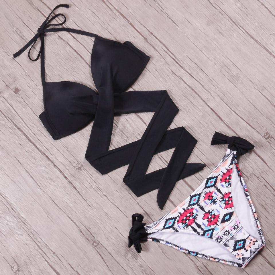 NAKIAEOI 19 Sexy Bikini Women Swimsuit Push Up Swimwear Criss Cross Bandage Halter Bikini Set Beach Bathing Suit Swim Wear XXL 46