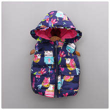Girls Vest Children Different Style Graffiti Pocket Jacket for Girls Winter Outerwear Coats Hooded Kids Cotton Outer Clothing