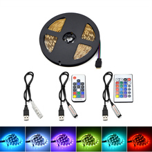 Waterproof RGB 5050 Flexible 5V USB LED Strip Light Color Change 3Key/17Key RF/24Key Remote Controller Home Decoration LED Tape(China)