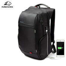 "Kingsons 15""17"" Business Men Backpack Laptop USB Charge Antitheft Waterproof Travel Backpack Large Capacity Student Schoolbag(China)"