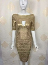 2016 Summer Fashion Dresses Sexy Cut Out Short Sleeve Woodgrain Foil Print Bandage Dresses Gold(China)