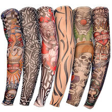 LEARNEVER 6 pcs/set Fashion Temporary Fake Tattoo Sleeves Arm Art Design Kit Nylon Party Arm Stocking Temporary Tattoos D01040