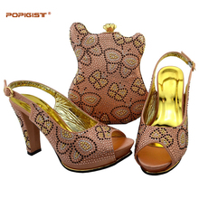 Soft leather comfortable shoe peach color in Shoes and Bag Set African Sets Italian Shoes with Matching Bags Women Shoes and Bag