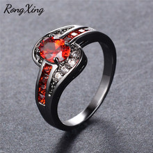 RongXing Fashion Vintage Black/White Gold Filled July Birthstone Rings For Women Wedding Jewelry Charming Red Zircon Ring Bague