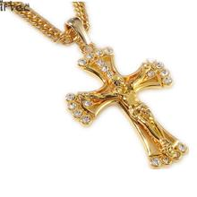 90cm hip hop rapper cool JESUS Christ Cross pendents long necklace men gold color chain male Christian jewelry cheap N141