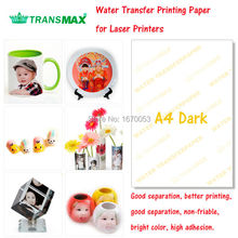 Free Shipping 20 Sheets Dark/Colorful Products A4 Dark Laser Printer Water Slide Decal Paper Water Transfer Printing Paper