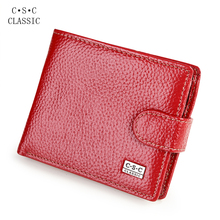 Red Real Cowhide Genuine Leather Wallet Women Short Bifold Coin Purse ID Credite Card Holder Carteira portefeuille porte monnaie