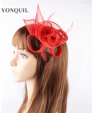 PROMOTION Ladies elegant feather flowers sinamay  fascinators for party hats bridal hair accessories cocktail hats  P14