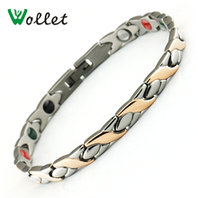 Wollet Jewelry 6mm Rose Gold Color Healing Energy Tourmaline Ions Magnetic Germanium Titanium Bracelet for Women