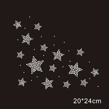 Star crystal stone hot fix rhinestone transfer designs,strass hot fix rhinestone iron on motifs for t shirt dance dress cloth