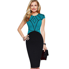Vfemage Womens Celebrity Elegant Geometrical Symmetry Patchwork Cotton Wear to Work Office Slim Sheath Fitted Bodycon Dress 1639