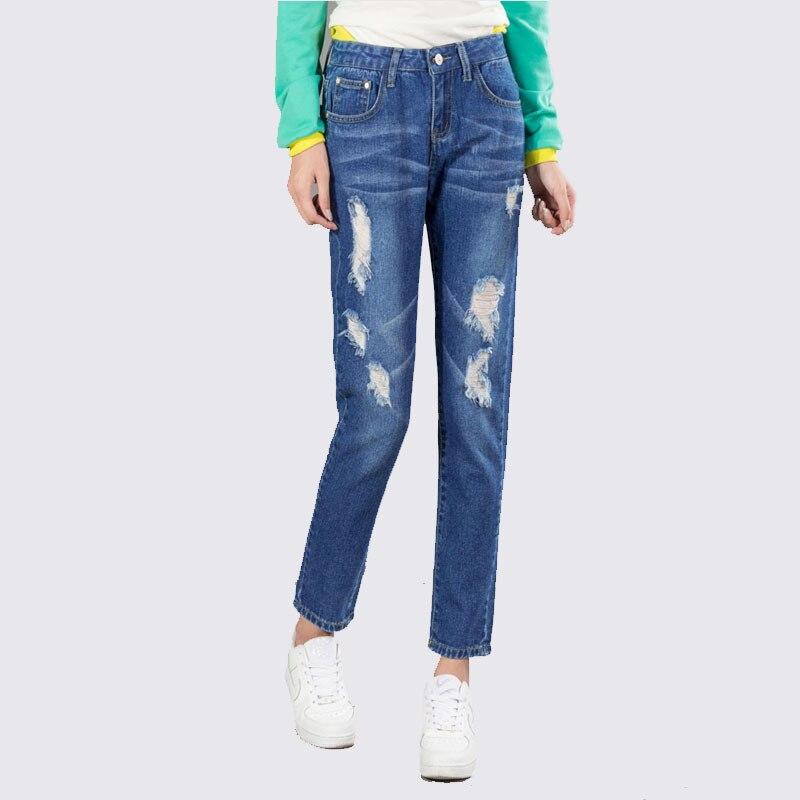 2017 Spring full length denim jeans pants big size slim pencil jeans vintage style blue pants with hole fashion clothesОдежда и ак�е��уары<br><br><br>Aliexpress