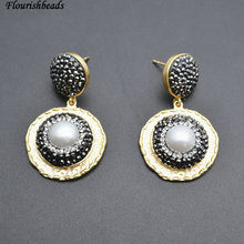 Anti-rust Gold Color Plating Metal Copper Natural White Pearl Round Beads Dangle Earrings Popular Woman Jewelry(China)