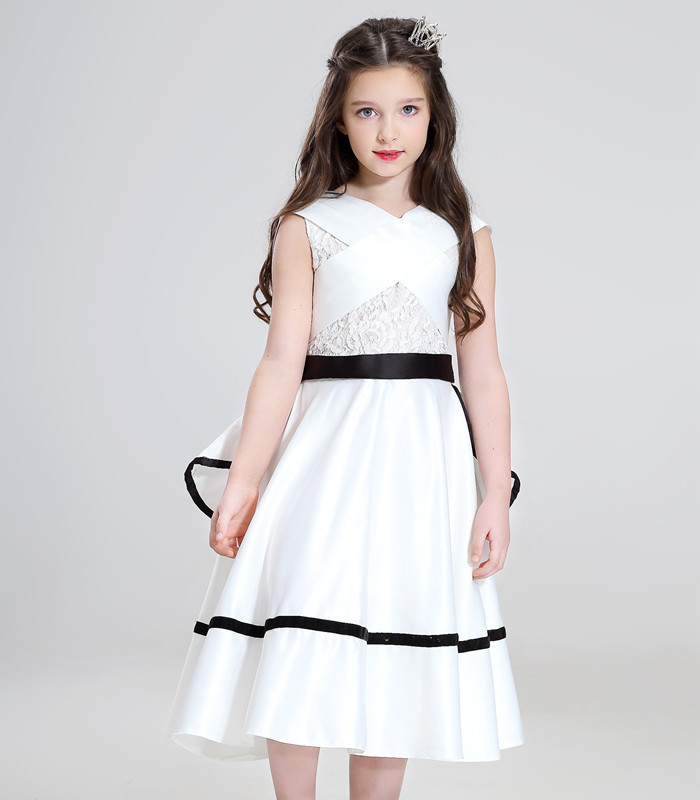 2018 New Summer Long Elegant White Flower Girls Dress Kids Baby Teenagers first Communion Pageant Girl Wedding Party Dresses<br>