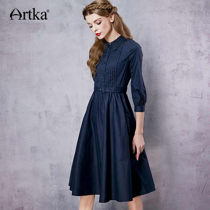 ARTKA Women's Autumn New Solid Color Embroidery Dress Three Quarter Sleeve Empire Waist Wide Hem Dress With Sashes LA12965C