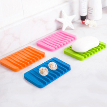 1Pc Creative Colorful Silicone Flexible Soap Dish Storage Soap Holder Plate Tray Drain Bath Tools Bathroom Accessories(China)