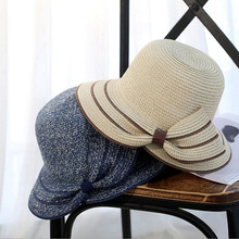 New fashionable sun hat woman summer bow grass hat beach headdress hat 4Colors forefoot pieces femme gift shade(China)