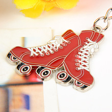 Free shipping 20pcs/lot Zinc Alloy Roller Skates Shaped Keychain Metal Skate Keyring