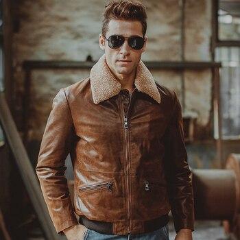 3 couleurs Hommes de veste en cuir véritable peau de porc En Cuir Véritable moto veste air force vol vestes aviateur manteau hommes