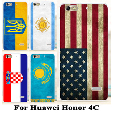 Soft TPU Hard plastic National Flag Phone Cases For Huawei Honor 4C C8818 5.0 inch Honor5 Huawei G Play Mini Honor4C Painted bag