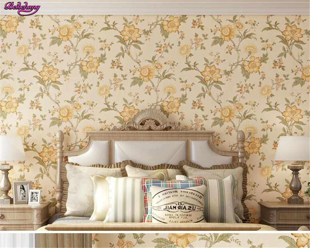 beibehang  papel de parede  Retro American style non woven 3d wallpaper Rural big flower warm living room TV backdrop wallpaper<br>