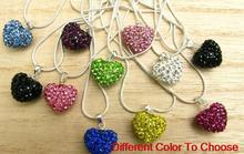 free shipping mix rhinestone fashion multicolor heart Silver Plated snake chain Crystal Shamballa Necklace For Women men.