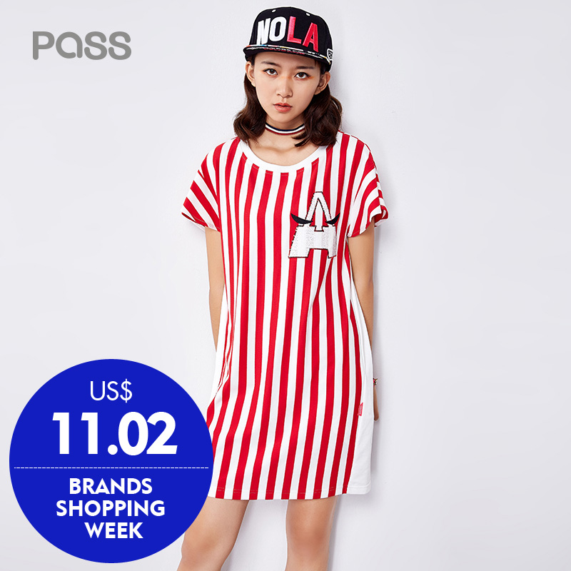 PASS Casual Dresses 2017 Striped Pattern Batwing Women Clothes O-Neck Short Sleeve Striped Cotton Mini Dress Vestidos(China (Mainland))