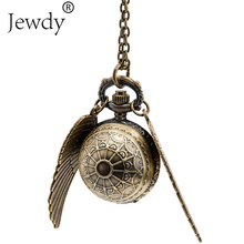 Free Drop Shipping Vintage Golden Snitch Quartz Fob Pocket Watch Pendant With Sweater Necklace for Women(China)