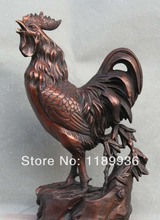 "11"" China Chinese Fengshui Bronze Wealth Farmer Zodiac Year Rooster Cock Statue"