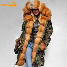 fur parka women real fox fur army parka genuine fox fur outwear natural fur coat(China)