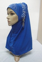 H889a latest muslim hijab with stones and pearls(China)