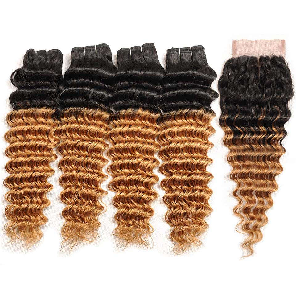 Pinshair Ombre 1B 27 Blonde Deep Wave Brazilian Hair 4 Bundles With Closure Nonremy 100 Human Hair Extension With Lace Closure (2)