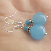 Free shipping Handmade CHALCEDONY Blue Sterling Silver Jewelry Dangle Earrings(China)