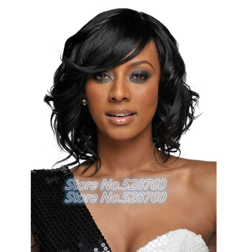 Medium Length Hairstyles For Thick Wavy Hair Black Capless Synthetic Full Wig<br><br>Aliexpress