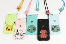 Pocket Monsters Soft Fundas Phone Cases For Apple iPhone 6 6s s plus 6plus 7 8 plus Pokemons Pikachue Go Case with Chain Cover(China)