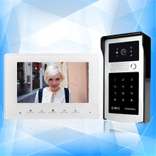 New 7'' TFT-LCD wired color RFID video door phone with password keypad outdoor unit camera intercom doorbell system