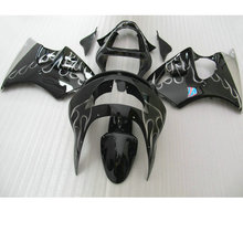 Customize ABS motorcycle fairing kits for Kawasaki ZX6R 1998 1999 silver flame in black Fairings bodywork Ninja 636 ZX 6R 98 99(China)