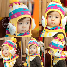 2014 Promotion Character Fashion Hot Winter Baby Cap Models Cartoon Rabbit Children The Rainbow Hat + Scarf Set free Shipping