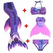 2018 New Princess Ariel Children Baby Girls Dianonds Mermaid Tails Swimming Costume Swimmable Mermaid Tail Monofin Kids