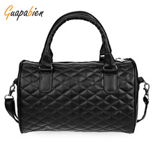 Guapabien  Pillow Bag Soft Black Leather Handbags Plaid Shoulder Messenger Bags Small Casual Cross Body Vintage Tote Party Bag