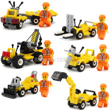 6pcs/lot City Construction Team figure Excavator Crane Building Block Bulldozer Forklift Sets Models Kids Educational Toys