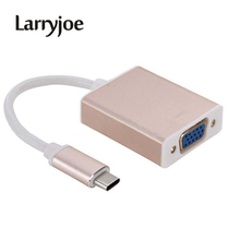 Larryjoe USB 3.1 Type C USB-C to VGA Converter Adapter Reversible for Macbook 12 inch Male to Female Conneting Cable(China)