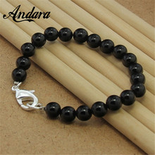 2 Color Fashion 8MM Natural Pearl Silver Bracelets 925 Silver Jewelry Wholesale for Women Men