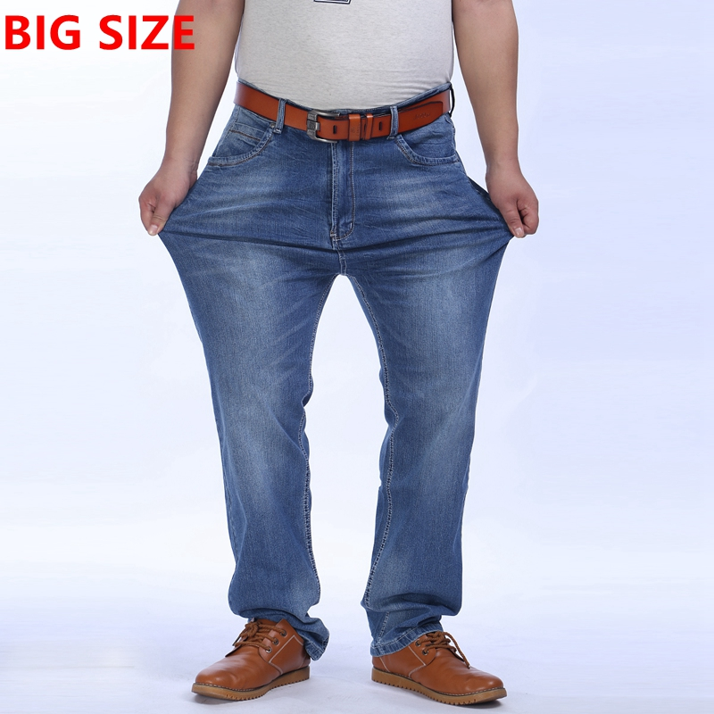 Big size summer light blue jeans size XXL 300 pounds can wear  high waist fat people business casual trousersÎäåæäà è àêñåññóàðû<br><br>