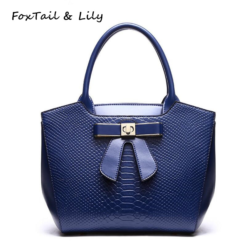 FoxTail &amp; Lily Beautiful Bowknot Design Woman Small Handbags Split Leather Cowhide Ladies Messenger Shoulder Bag for Youth Girls<br>